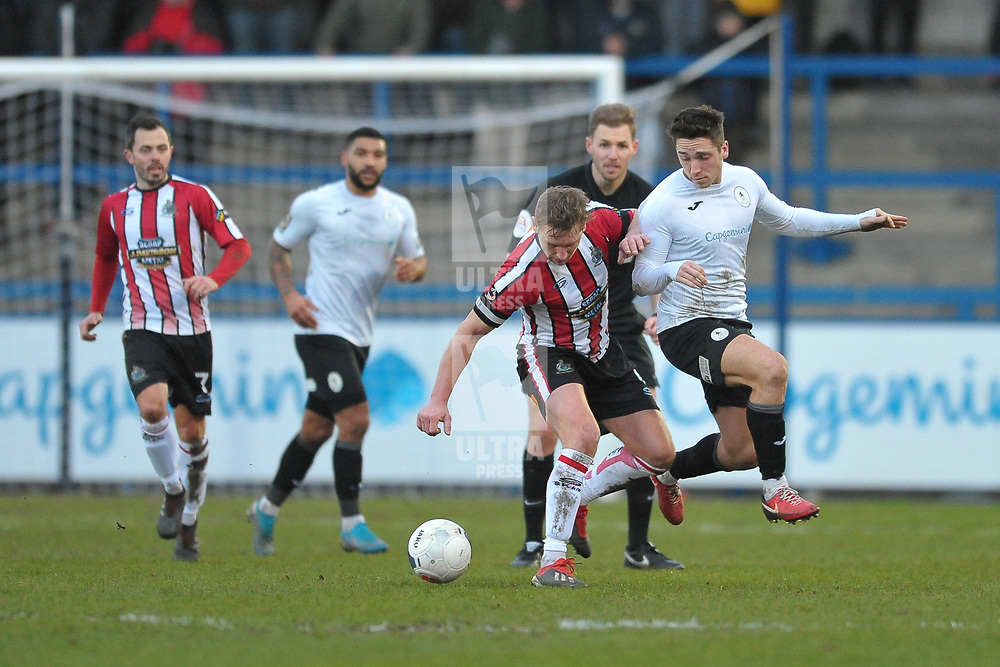 TELFORD COPYRIGHT MIKE SHERIDAN Adam Walker of Telford during the Vanarama Conference North fixture between AFC Telford United and Altrincham at The New Bucks Head on Saturday, February 1, 2020.<br /> <br /> Picture credit: Mike Sheridan/Ultrapress<br /> <br /> MS201920-044