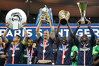 Joie PSG - Joie PSG - Thiago Silva / Lucas Moura / Zlatan Ibrahimovic / Blaise Matuidi / Zoumana Camara - 30.05.2015 - Auxerre / Paris Saint Germain - Finale Coupe de France<br />Photo : Andre Ferreira / Icon Sport