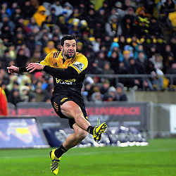 James Marshall clears during the Super Rugby final match between the Hurricanes and Lions at Westpac Stadium, Wellington, New Zealand on Saturday, 6 August 2016. Photo: Dave Lintott / lintottphoto.co.nz
