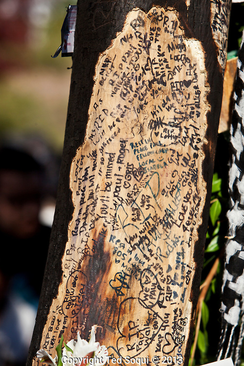 Fans of Paul Walker sign a charred tree where Roger Rodas' car finally stopped and caught fire.<br /> An informal street memorial for Paul Walker, key actor in the &quot;Fast and Furious&quot; film enterprise, and Roger Rodas, race car driver, who were both killed in a solo car auto accident in Valencia, CA. The memorial was held at the crash site, and featured several cars Paul Walker drove in the &quot;Fast and Furious&quot; films. Thousands of fans and car enthusiast showed up to pay their respects.