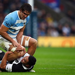 LONDON, ENGLAND - DECEMBER 01: Leon Fukofuka (Auckland & Tonga) of the Barbarians has hold of Pablo Matera of Argentina during the Killik Cup match between Barbarians and Argentina at Twickenham Stadium on December 01, 2018 in London, England. (Photo by Steve Haag/Gallo Images)