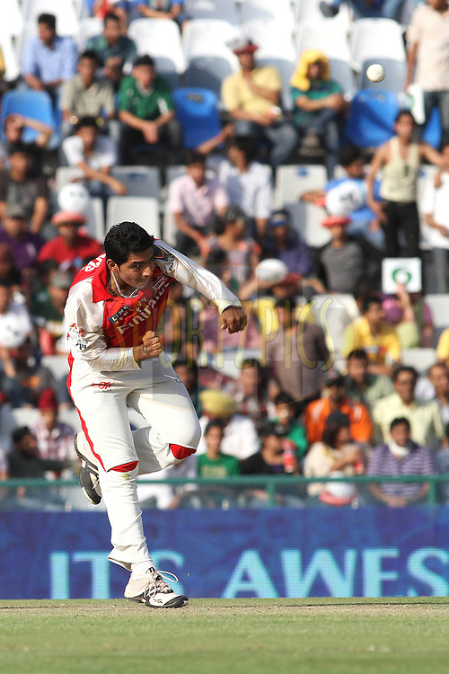 Bhargav Bhatt of the Kings XI Punjab sends down a delivery during match 9 of the Indian Premier League ( IPL ) Season 4 between the Kings XI Punjab and the Chennai Super Kings held at the PCA stadium in Mohali, Chandigarh, India on the 13th April 2011..Photo by Shaun Roy/BCCI/SPORTZPICS