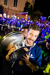 Goran Dragic with trophy during Reception of Slovenian national baskteball team with Gold medal from Eurobasket 2017 - Istanbul and Slovenian women's U23 volleyball team with Silver medal from Women's U23 World Championships - Ljubljana, on September 18, 2017 in Kongresni trg, Ljubljana, Slovenia. Photo by Matic Klansek Velej / Sportida