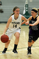 25 November 2014:  Shelby Gray  & Andrea Olsen during an NCAA women's division 3 CCIW basketball game between the Wisconsin Whitewater Warhawks and the Illinois Wesleyan Titans in Shirk Center, Bloomington IL