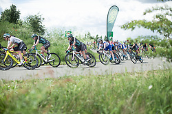 The front of the peloton lean into a corner on Stage 2 of 2019 OVO Women's Tour, a 62.5 km road race starting and finishing in the Kent Cyclopark in Gravesend, United Kingdom on June 11, 2019. Photo by Balint Hamvas/velofocus.com