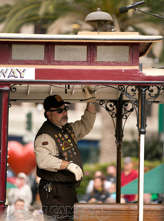 Ken Lunardi taps out a tune during the 52nd annual San Francisco Municipal Railway's Cable Car Bell-Ringing contest, Thursday, July 9, 2015, at Union Square in San Francisco, Calif. (Photo by D. Ross Cameron)