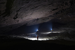 "Expedition members work within the Miao Room Chamber, China's largest cave chamber by volume, in Ziyun County of southwest China's Guizhou Province, April 14, 2016. In 2014, National Geographic announced Miao Room Chamber, with a volume of some 19.78 million cubic meters, as the world's largest cave chamber. A joint caving expedition code-named ""Pearl"" by explorers and scientists from China and France kicked off here on April 11 during the 19-day exploration, they will conduct comprehensive investigation on famous caves in Guizhou including the Miao Room Chamber and Shuanghe Cave in Suiyang. EXPA Pictures © 2016, PhotoCredit: EXPA/ Photoshot/ Ou Dongqu<br /> <br /> *****ATTENTION - for AUT, SLO, CRO, SRB, BIH, MAZ, SUI only*****"