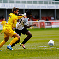SEPTEMBER 1y6:  Dover Athletic against Chester FC in Conference Premier at Crabble Stadium in Dover, England. Doveer ran out emphatic winners 4 goal to nothing. Chester's Andy Halls holds Dover's forward Kadell Daniel back. (Photo by Matt Bristow/mattbristow.net)