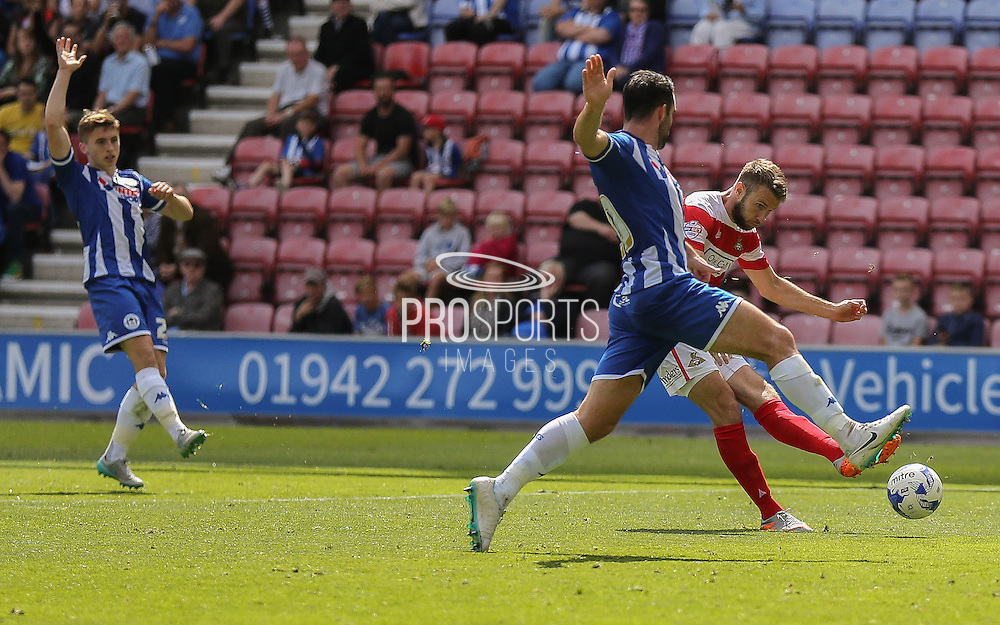 Doncaster attack during the Sky Bet League 1 match between Wigan Athletic and Doncaster Rovers at the DW Stadium, Wigan, England on 16 August 2015. Photo by Simon Davies.