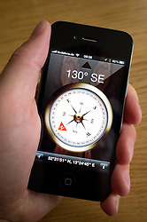 Using a compass App on an iPhone smartphone