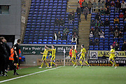 Oxford players celebrate their equaliser 2-2 during the EFL Sky Bet League 1 match between Peterborough United and Oxford United at London Road, Peterborough, England on 8 December 2018.