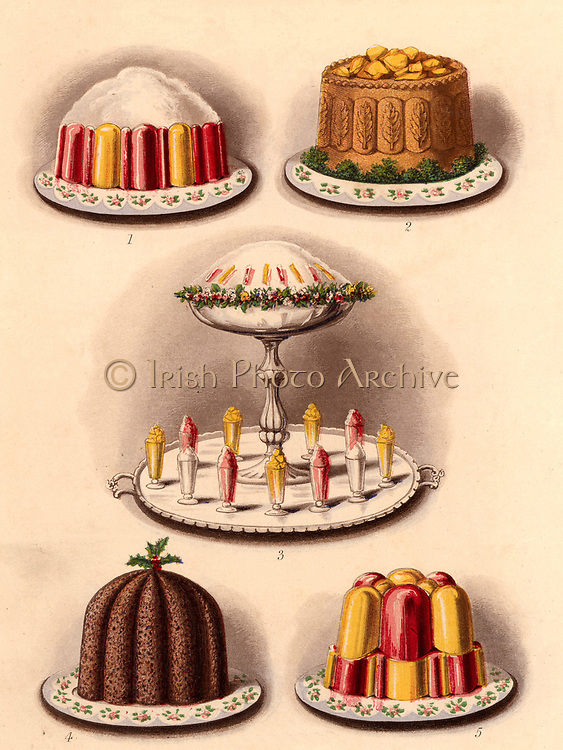 Puddings and a pie. Top; Jelly and cream, and Yorkshire pie with aspic jelly.  Bottom; Christmas pudding, and  a jelly. In the centre is a triflle surrounded by ices and jellies.  Chromolithograph from 'Cassell's Book of the Household' (London, c1895).