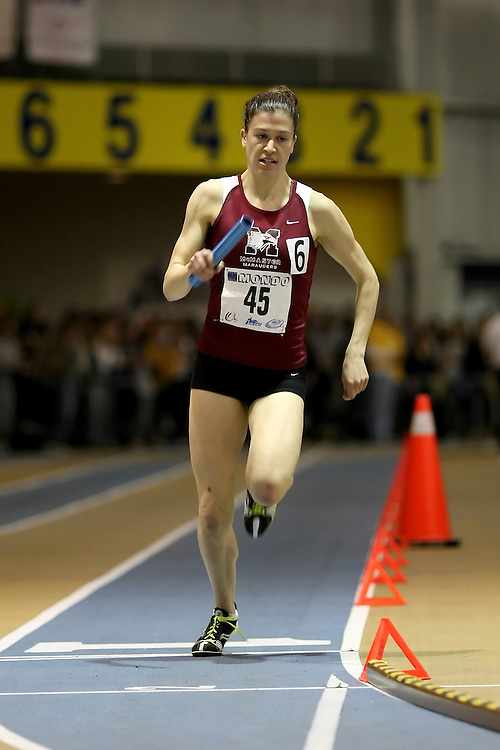 Windsor, Ontario ---14/03/09--- Jillian Wyman of  McMaster University competes in the Women's 4x400m Relay at the CIS track and field championships in Windsor, Ontario, March 14, 2009..Sean Burges Mundo Sport Images