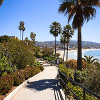 Photo of Heisler Park walkway in Laguna Beach California. Laguna Beach is a seaside beach community along the Pacific Ocean in Orange County Southern California.