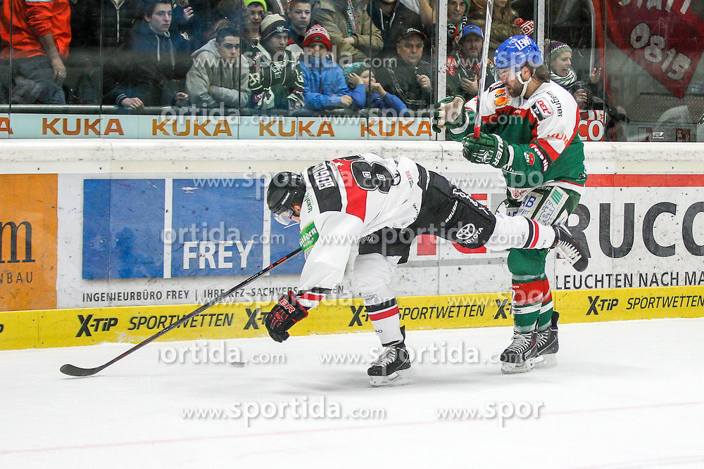12.12.2014, Curt Fenzel Stadion, Augsburg, GER, DEL, Augsburger Panther vs Koelner Haie, 26. Runde, im Bild l-r: im Zweikampf, Aktion, mit Philip Gogulla #87 (Koelner Haie) und Brady Lamb #2 (Augsburger Panther) // during Germans DEL Icehockey League 26th round match between Augsburger Panther vs Koelner Haie at the Curt Fenzel Stadion in Augsburg, Germany on 2014/12/12. EXPA Pictures © 2014, PhotoCredit: EXPA/ Eibner-Pressefoto/ Kolbert<br /> <br /> *****ATTENTION - OUT of GER*****
