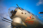 """Machine guns on the nose of the B-17 """"Aluminum Overcast"""", owned and operated by the Experimental Aircraft Association."""