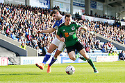 Scunthorpe's Murray Wallace (5) and Chesterfield's Ched Evans (9) during the EFL Sky Bet League 1 match between Chesterfield and Scunthorpe United at the b2net stadium, Chesterfield, England on 22 October 2016. Photo by Richard Holmes.
