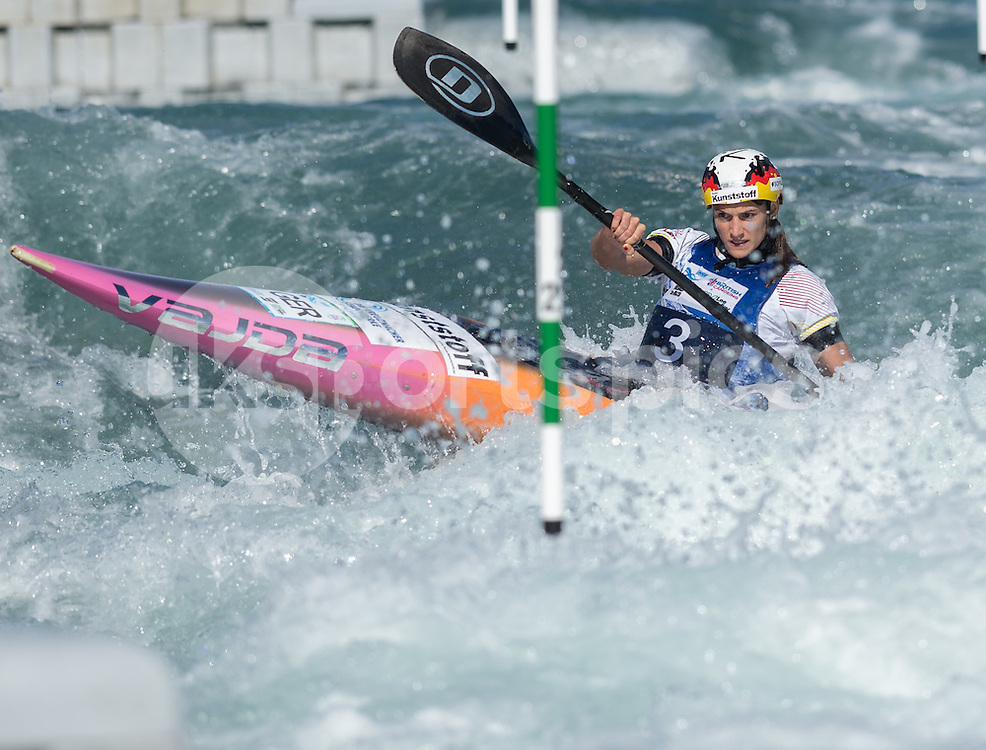 Ricarda Funk of Germany competes in the K1 during the ICF Canoe Slalom World Championship 2015 at Lee Valley White Water Centre, London, United Kingdom on 19 September 2015. Photo by Vince  Mignott.