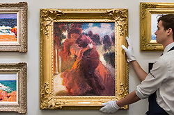 "© Licensed to London News Pictures. 16/11/2018. LONDON, UK. A technician examines ""Romeo and Juliet"", 1898-1900, by Roderic O'Conor (Est. GBP300,000-500,000). Preview of ""A Living Legacy"", the Irish Art Collection of Brian P. Burns, a collection spanning artists from the 18th century to the present day.  Over 100 works will be offered for sale on 21 November at Sotheby's in London.  Photo credit: Stephen Chung/LNP"
