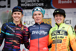 Top three: Amy Pieters, Alexis Ryan and Chloe Hosking at Ronde van Drenthe 2018 - a 157.2 km road race on March 11, 2018, from Emmen to Hoogeveen, Netherlands. (Photo by Sean Robinson/Velofocus.com)