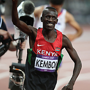 Ezekiel Kemboi, Kenya, winning the Men's 3000m Steeplechase Final at the Olympic Stadium, Olympic Park, Stratford at the London 2012 Olympic games. London, UK. 5th August 2012. Photo Tim Clayton