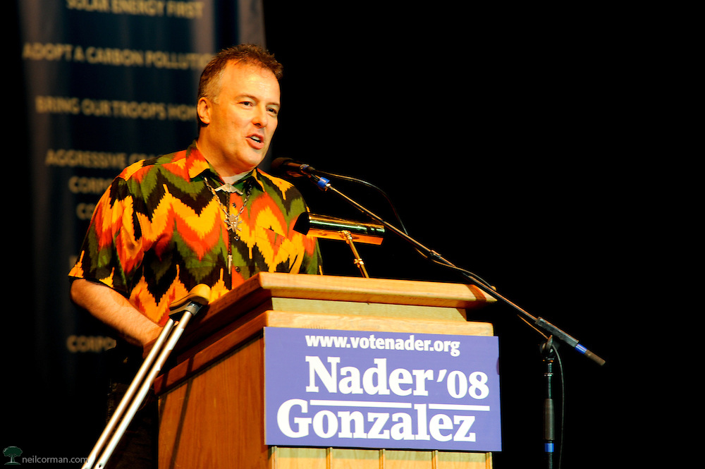 August 27, 2008 - Musician and activist Jello Biafra speaks at a Ralph Nader Super Rally during the DNC.