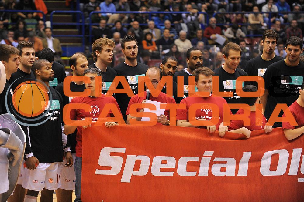 DESCRIZIONE : Milano Eurolega 2011-12 EA7 Emporio Armani Milano Real Madrid<br /> GIOCATORE : Special Olympics<br /> CATEGORIA : Ritratto Curiosita<br /> SQUADRA :<br /> EVENTO : Eurolega 2011-2012<br /> GARA : EA7 Emporio Armani Milano Real Madrid<br /> DATA : 01/12/2011<br /> SPORT : Pallacanestro <br /> AUTORE : Agenzia Ciamillo-Castoria/A.Dealberto<br /> Galleria : Eurolega 2011-2012<br /> Fotonotizia : Milano Eurolega 2011-12 EA7 Emporio Armani Milano Real Madrid<br /> Predefinita :