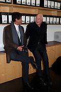 GLENN SCOTT WRIGHT; ; DON RUBELL, 'Engagement' exhibition of work by Jennifer Rubell. Stephen Friedman Gallery. London. 7 February 2011. -DO NOT ARCHIVE-© Copyright Photograph by Dafydd Jones. 248 Clapham Rd. London SW9 0PZ. Tel 0207 820 0771. www.dafjones.com.