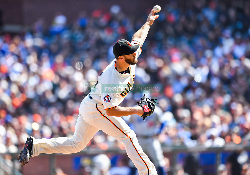 April 8, 2018 - San Francisco, California, U.S. - SAN FRANCISCO, CA - APRIL 08: San Francisco Giants Pitcher Josh Osich (61) pitches a strike during a regular season game between the Los Angeles Dodgers and San Francisco Giants on April 8, 2018, at AT&T Park in San Francisco, CA. (Photo by Stephen Hopson/Icon Sportswire) (Credit Image: © Stephen Hopson/Icon SMI via ZUMA Press)