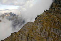 Mount Aspiring National Park:  Aerial view of unnamed mountain ridge.