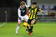 Burton Albion defender Anthony O'Connor and Millwall FC midfielder George Saville challenge for the ball during the Sky Bet League 1 match between Burton Albion and Millwall at the Pirelli Stadium, Burton upon Trent, England on 1 December 2015. Photo by Aaron Lupton.
