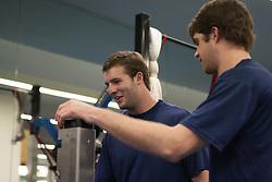 27 November 2007: North Carolina Tar Heels men's lacrosse Jack Ryan and Ryan Flanagan during a weight lifting session in Chapel Hill, NC.