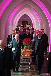 "© Licensed to London News Pictures . 14/10/2013 . Gorton Monastery , Manchester , UK . The Humanist funeral of photographer Harry Goodwin , attended by footballers and other celibrities and featuring music by artists he had photographed including ""He Ain't Heavy, He's My Brother"" by the Hollies and "" Happiness "" by Ken Dodd . Photo credit : Joel Goodman/LNP"