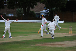 WELLINGBOROUGH BOWLER BEN PIERCEY, APPEALS FOR LBW Wellingborough Town CC v Finedon 3rds CC, Redwell Road Ground,  Saturday 20th August 2016<br /> Photo:Mike Capps