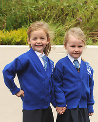 Grace Cunningham and Kayla Cusack junior infant Knockrooskey NS Westport.<br />Pic Conor McKeown