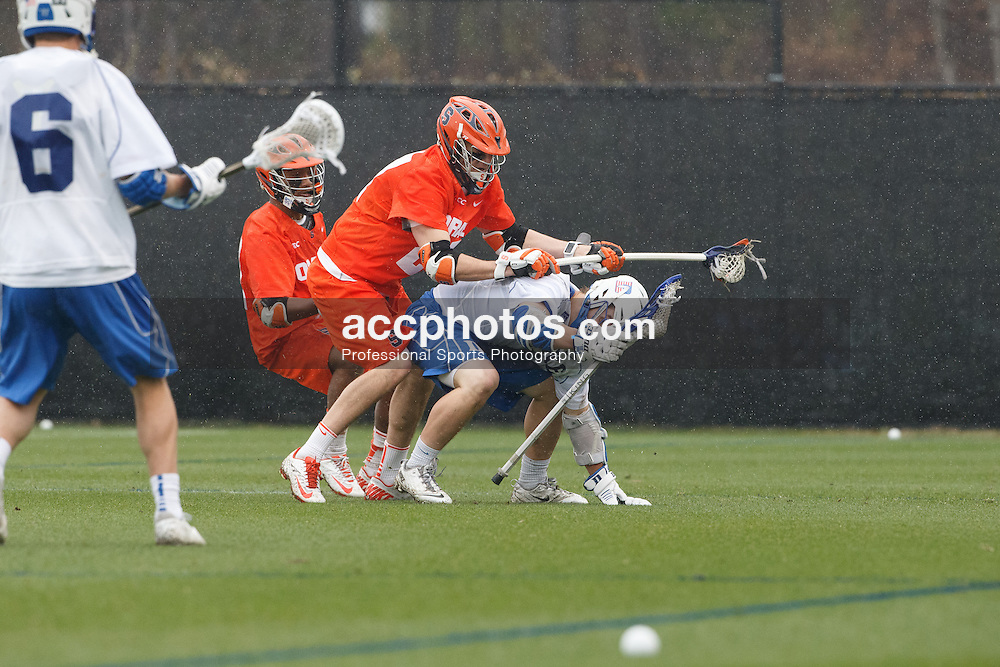DURHAM, NC - MARCH 23: Josh Dionne #8 of the Duke Blue Devils during a game against the Syracuse Orange on March 23, 2014 at Koskinen Stadium in Durham, North Carolina. Duke won 21-7. (Photo by Peyton Williams/US Lacrosse)