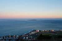 View of Robben Island and Sea Point from Signal Hill, Cape Town, Cape Province, South Africa.psd