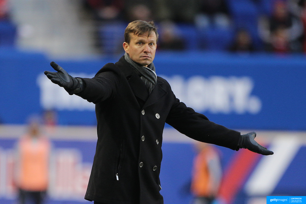 Jesse Marsch, New York Red Bulls head coach, on the sideline during the New York Red Bulls Vs D.C. United, Major League Soccer regular season opening match at Red Bull Arena, Harrison, New Jersey. USA. 22nd March 2015. Photo Tim Clayton