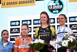 Top three: Annemiek van Vleuten (NED), Anna van der Breggen (NED) and Ashleigh Moolman Pasio (RSA) at La Course by Le Tour de France 2018, a 112.5 km road race from Annecy to Le Grand Bornand, France on July 17, 2018. Photo by Sean Robinson/velofocus.com