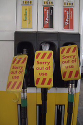 UK ENGLAND LONDON 30MAR12 - A petrol station is closed after supplies ran dry due to panic buying by motorists in the past few days. Queues have formed at petrol stations as demand for fuel shot up after ministers called for people to top up in case of a tanker drivers' strike. The Petrol Retailers Association said ministers had been 'irresponsible' and were at fault for the panic buying..jre/Photo by Jiri Rezac..© Jiri Rezac 2012