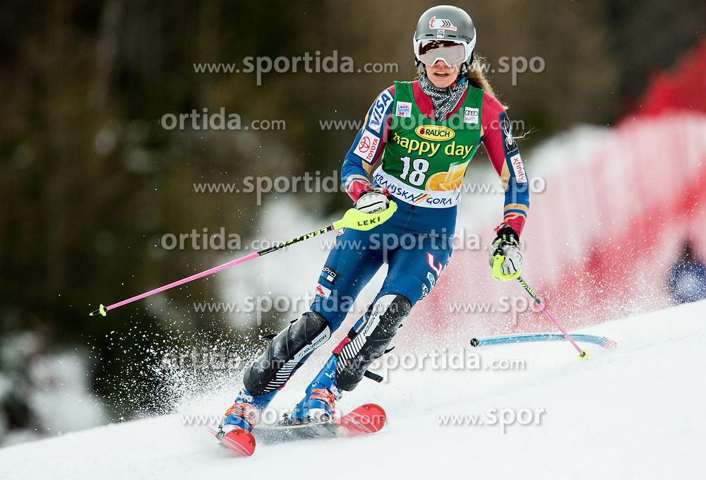 "Resi Stiegler (USA) in action during 1st Run of the FIS Alpine Ski World Cup 2017/18 7th Ladies' Slalom race named ""Golden Fox 2018"", on January 7, 2018 in Podkoren, Kranjska Gora, Slovenia. Photo by Ziga Zupan / Sportida"