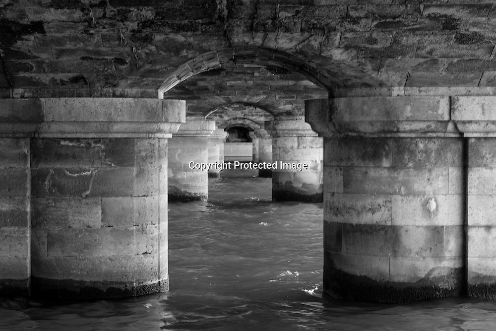 France. Paris The Seine river under the Pont de la Concorde,