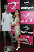 "Echosmith's lead vocalist, Sydney Sierota, donates her dress featured in their music video for ""Cool Kids"" to Hard Rock's world-famous memorabilia collection at Hard Rock Cafe New York on Monday, September 14, 2015. The event marks the launch of the 16th annual PINKTOBER campaign benefiting the Breast Cancer Research Foundation. (Photo by Diane Bondareff/Invision for Hard Rock International)"