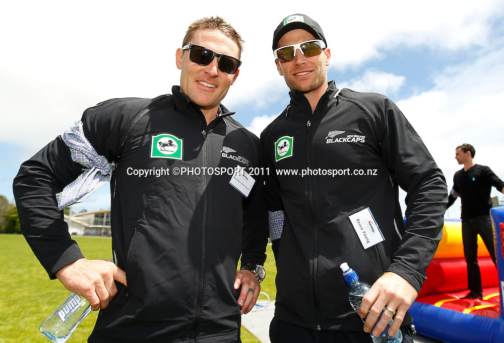 Brendon McCullum and Reese Young during the HRV Cup Cricket Blackcaps Day, Papatoetoe Recreation Centre, Auckland, 10 November 2011. Photo: Simon Watts / photosport.co.nz