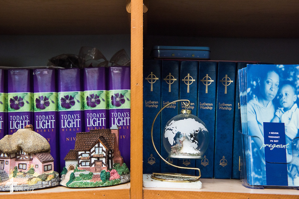 Brochures and hymnals lay in shelves at A Place of Refuge on Wednesday, Sept. 2, 2015, in Milwaukee, Wis. LCMS Communications/Erik M. Lunsford