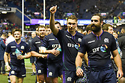 Victorious Scotland players after winning the 2018 Autumn Test match between Scotland and Fiji at Murrayfield, Edinburgh, Scotland on 10 November 2018.
