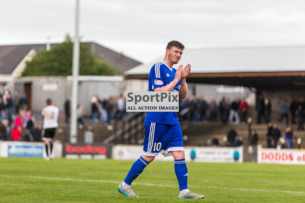 Shane Sutherland applauds the travelling fans after the Scottish League 1 fixture between Ayr Utd and Peterhead (c) ROSS EAGLESHAM | Sportpix.co.uk