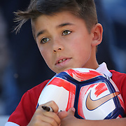 FOXBOROUGH, MASSACHUSETTS - JUNE 10: A young Chilean fan hoping for autographs before the Chile Vs Bolivia Group D match of the Copa America Centenario USA 2016 Tournament at Gillette Stadium on June 10, 2016 in Foxborough, Massachusetts. (Photo by Tim Clayton/Corbis via Getty Images)
