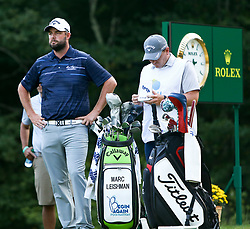 September 4, 2017 - Norton, Massachusetts, United States - Marc Leishman (L) and his caddie Matthew Kelly wait on the 18th tee during the final round of the Dell Technologies Championship at TPC Boston. (Credit Image: © Debby Wong via ZUMA Wire)