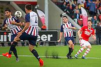 WIJDEWORMER - 03-09-2016, Jong AZ - Excelsior Maassluis, AFAS trainingscomplex, Jong AZ speler Nick Doodeman scoort hier de 2-1, doelpunt.